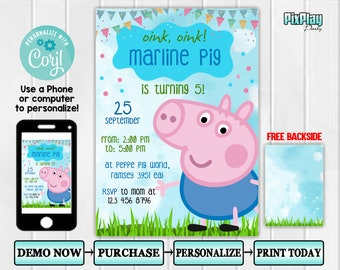 Editable Peppa Pig Invitation Birthday Party Theme Printables Glitter Invite INSTANT DOWNLOAD PP3