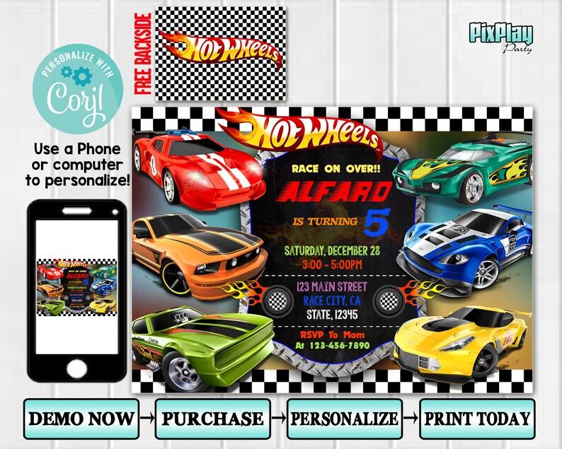 Hot Wheels Invitation Pixplay001 Hot Wheels Birthday Etsy