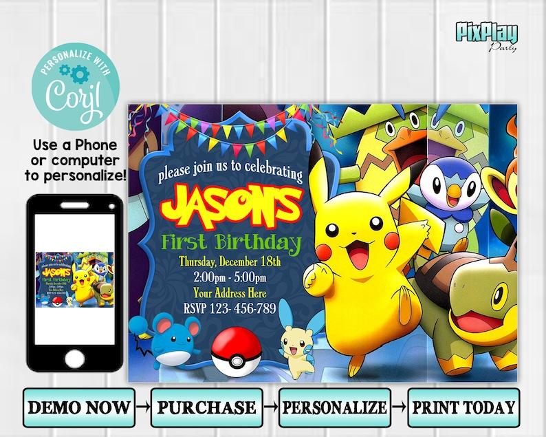 Pokemon Invitation PixPlay003 Pokemon Birthday Invitation