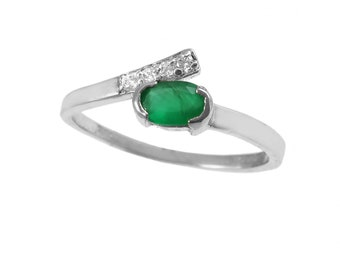 SUPERBE 2.5 Ct Ovale Vert Émeraude 925 Sterling Silver Ring Taille 5-10
