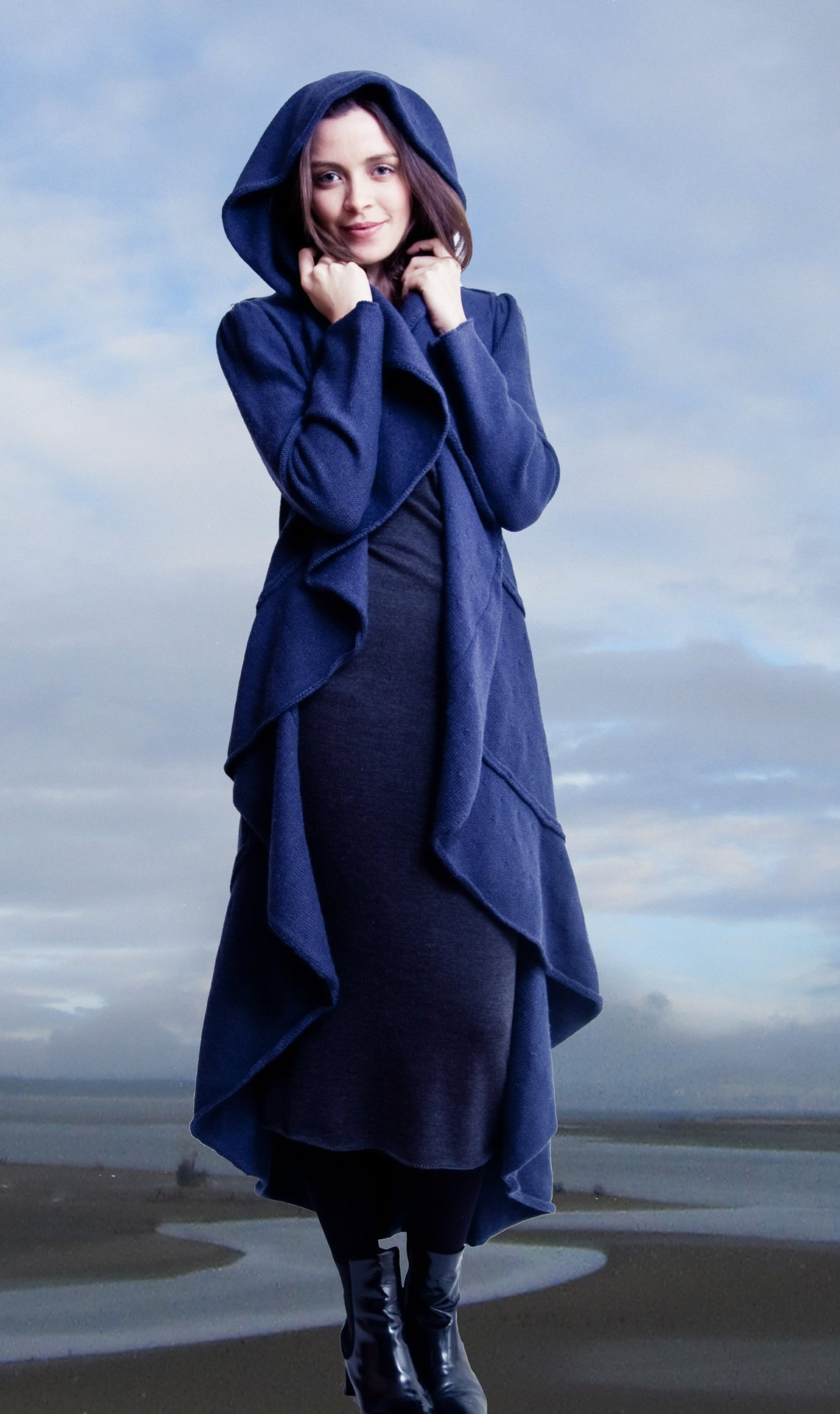 100% Extra Fine Merino Wool Coat - The Spiral By Cloud9knitwear