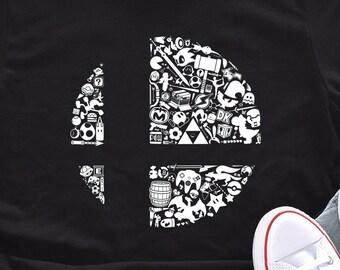 Super Smash Bros Shirt Logo Funny Unisex T-shirt All Characters Nintendo Switch Tee