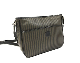 3886b4446a Vintage 1990 s Fendi Striped Zucca Side Bag