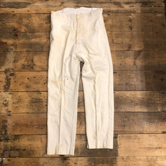 Vintage 1930s 1940s Cream Cricket Wool Trousers