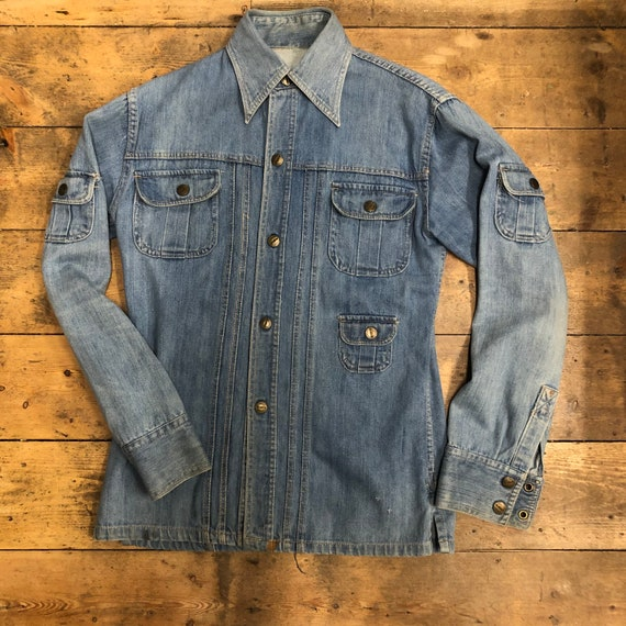 Vintage 1970s Blue Denim Pocket Jacket