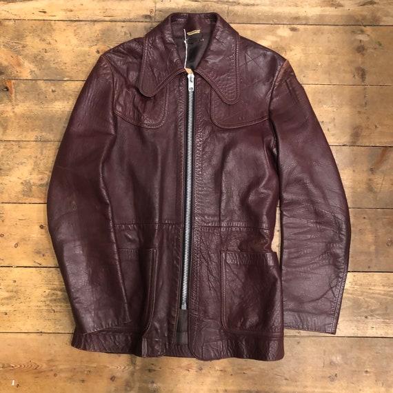 Vintage 1960s 1970s Maroon Leather Jacket Coat