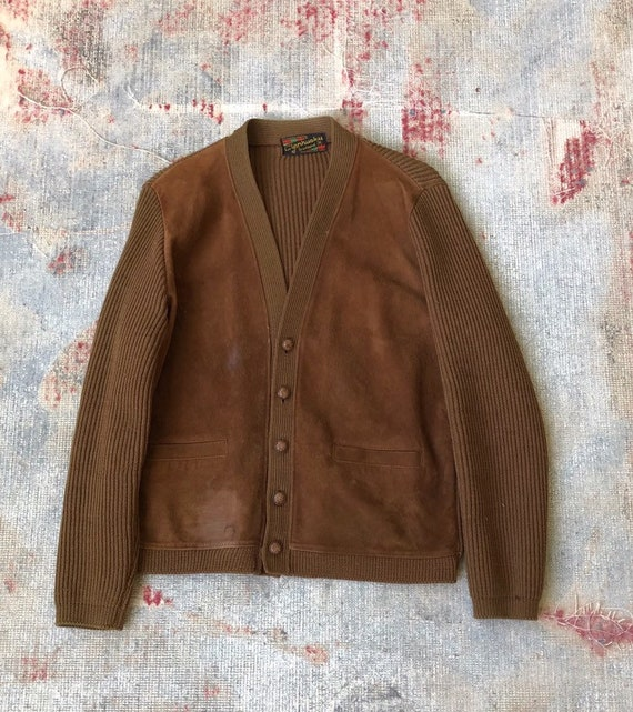 Vintage 1960s brown leather And Wool Suede Cardiga