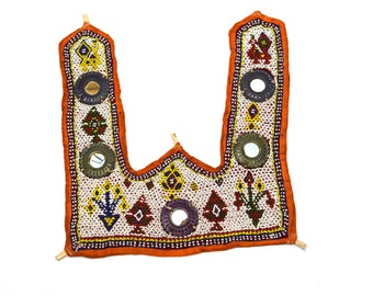 fca52f6fca3731 Vintage Hand Embroidery Work Rare Kutch Heavy Beaded Wall Hanging Decor -  Mirror Fitted Wall Hanging Gujarati Rabari embroidery. i17-8