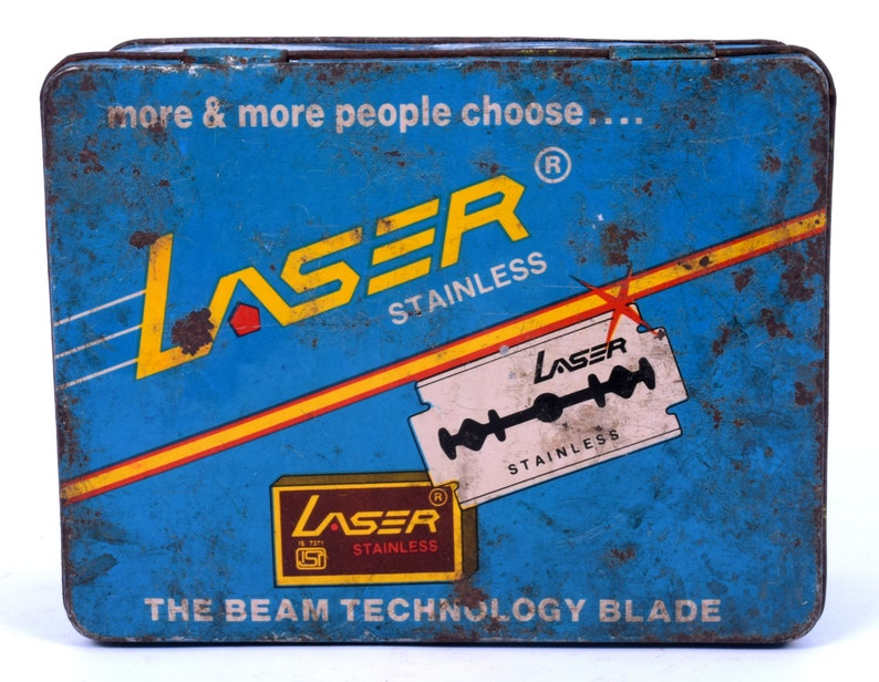 Tin Sign Board i2-51 Indian Great Rare Vintage Usable Condition Advertisement Litho Tin Box ISI Marked Laser Stainless Shaving Blade Ad