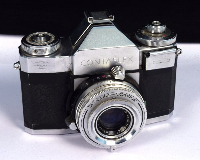 Antique Zeiss Ikon Contaflex Tessar 50mm lens Camera with leather case -  Collectible Vintage Camera With Original Cover - Old Camera  i70-2