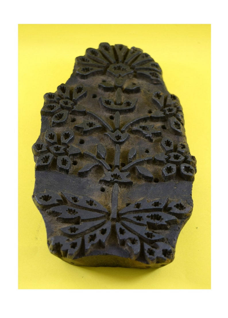 Vintage Floral Design Wooden Textile Printing Block Indian Block Bed Sheet Block i77-76 Nice Collectible Hand Block -Old Wooden Block
