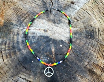 Handmade Bob Marley Reggae Style Peace Sign Necklace Rasta BeadsHippie PsychedelicBlack VariantPeace Sign PendantTrippy HippieBohemian