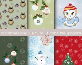 cell phone wallpapermobile phonesnowflakesowlssnowmanchristmas treewatercolor vector backgroundscreensaverwinterchristmasiphone