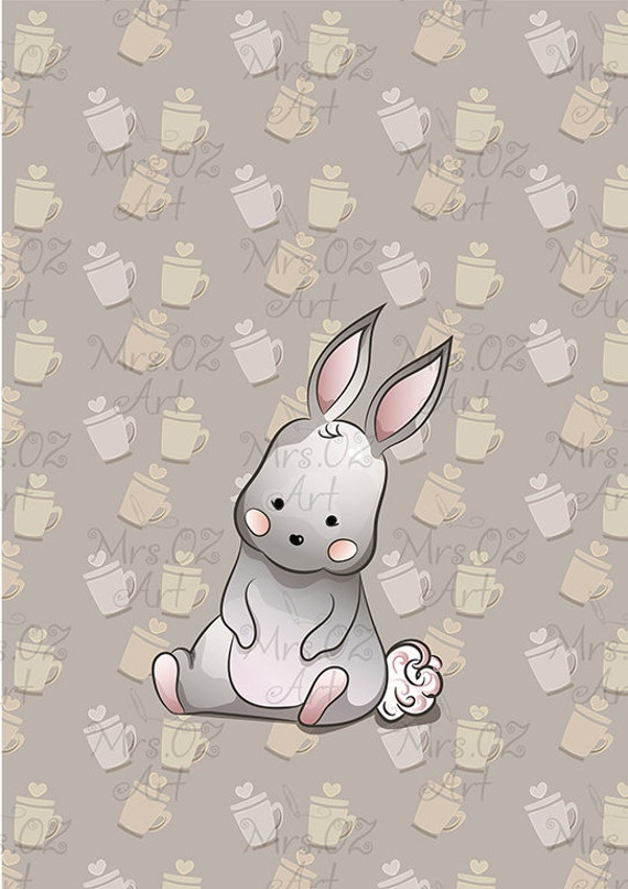 Iphone Cell Phone Wallpaper Bunny Design Cup Background Screensaver Digital Graphics Baby Bunny Rabbit Image