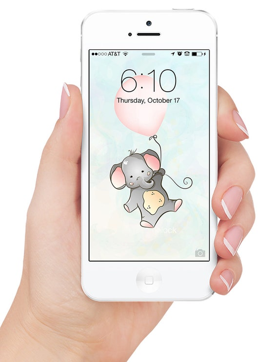 Iphone Cell Phone Wallpaper Elephant And Pink Balloon Wallpaper Blue Vector Background Screensaver