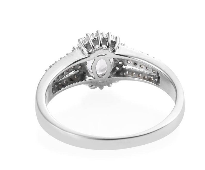 Goshenite and white Zircon Sterling Silver ring