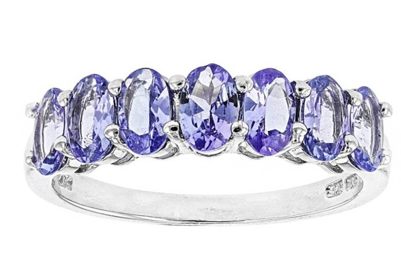 Tanzanite Rhodium over Sterling Silver 7-stone Band Ring 1.54ctw