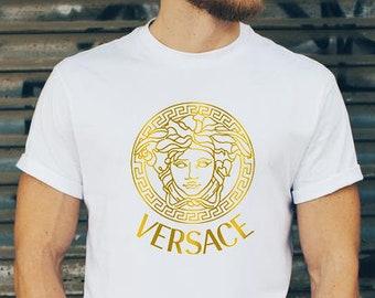 T-Shirt  Versace medusa , Gold Logo, brand t-shirt, brand shirt, unisex  clothing, replica e65e3bf681f