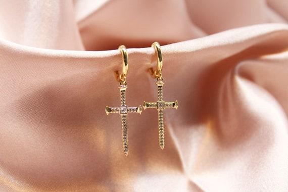 cross-my-heart-earrings,-gold-huggie-hoops,-cubic-cross-earrings,-gift-for-women,-hoop-earrings,-cross-dangle-jewelry,-jesus-earrings, by etsy
