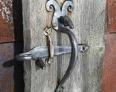 Door thumb-latch handle Set Forged iron Thumb Pull Handle with bufalo head Old Traditional Style thumb Latch