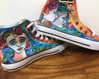 363a77f0a83856 Hand Painted Hi Top Sneakers  Never repeated original designs (Art Shoes)    Sneasels Rosey Size 39 (Aus 8 9)