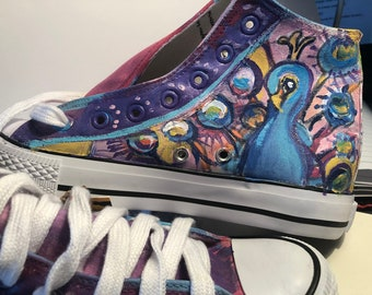 80ae287f88939d Hand Painted Hi Top Sneakers  Never repeated original designs (Art Shoes)    Peacock Size 37 (Aus 6 7)