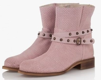 6eb583e00fc Women cut out perforated leather close toe extra wide spring summer  openwork ankle boots beige genuine leather low heel flat summer boots