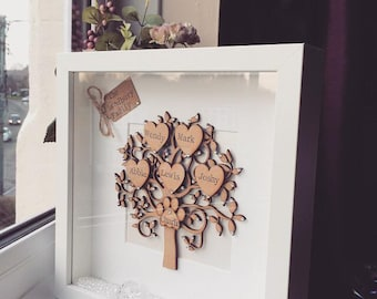 Personalised Family Tree,Keepsake,Gift,Handmade, Name Frame, Mothers Day, Home  Decor, Family, Wooden, Box Frame, Crystals, Twine, Love Heart
