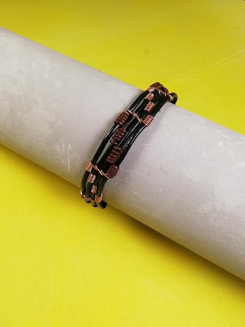 Men/'s Black leather bracelet Gift for men Bracelet for Men Men/'s brown leather bracelet Copper leather bracelet