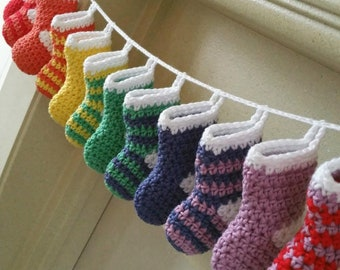 Mini Stocking Crochet Pattern - Christmas Advent Garland - Christmas Stocking Decoration