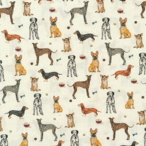 Animal Pattern Fabric Sewing Supply Quilting Craft Material Screen Print Dogs Deer Moose Hunting Theme Rural Cabin Decor Cotton 71x41 inches