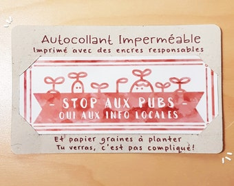 Waterproof sticker Stop advertising yes to local info, eco-friendly, instructions on paper seeds to plant