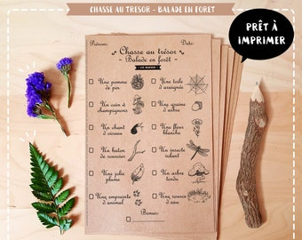 Treasure hunt, forest walk theme, printable game, instant download