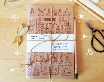 BUDDING WRITER PACK, 2 terrarium notebooks and seed pencil for planting
