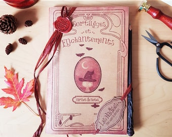 SORCERER'S WRITING pack, 1 magic wand pencil and 2 witchcraft pattern notebooks