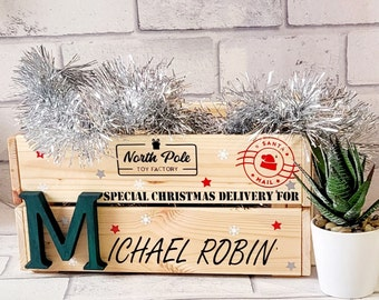 Personalised Christmas Eve Box   Personalised Christmas Eve Crate   Grey Christmas Eve Box   Wooden Christmas Eve Box   Personalised Box