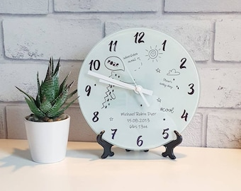 Personalised Glass Clock, Animal themed Nursery Clock, Personalised birth details clock