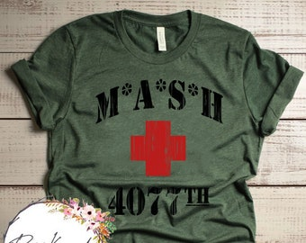 1d179fbe MASH 4077th tv Division Vintage Style Distressed citcom Heather Military  Army Green T-Shirt