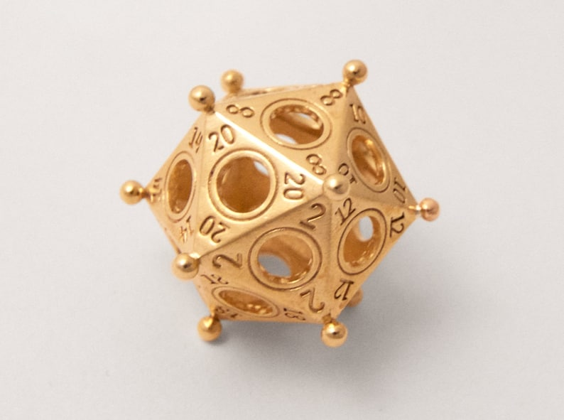 Ancient Roman D20  3D Printed Metal D20  DnD Dice  Gaming image 0