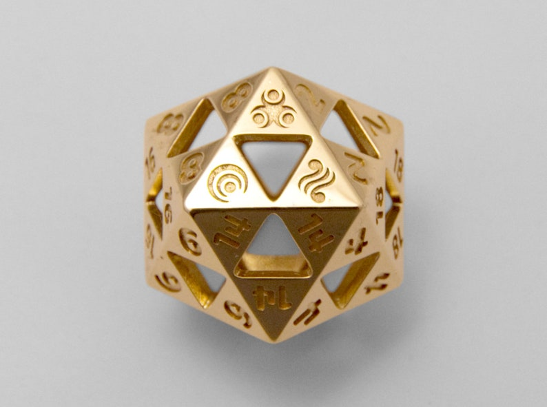 Triforce D20  3D Printed Metal D20  Legend of Zelda  Gaming image 0