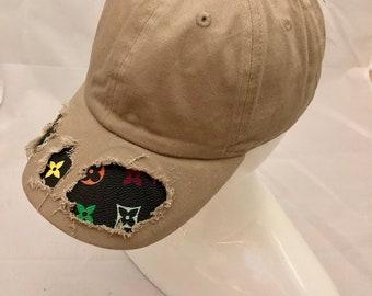 86631af36e5 100% Authentic Repurposed LV Fabric Custom Tan Baseball Hat