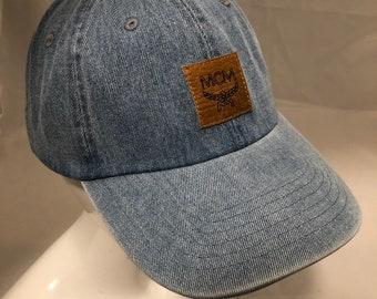 8e277ff5a1385 100% Authentic Repurposed McM Leather Custom Hat - MCM fabric sewn black hat  - MCM Cap - MCM dad hat