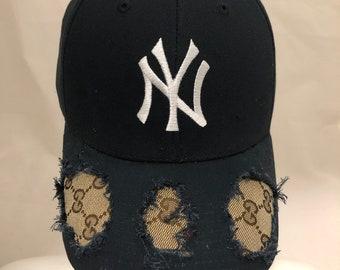 e679f5e85b509 Custom NY Yankees X Authentic double GG Hat - Navy blue yankee designer hat  - brown tan gg baseball cap - yankee hat - distressed dad hat