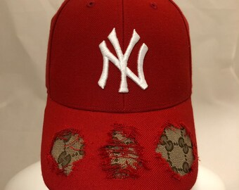 27f1eb87210a7 Custom NY Yankees X Authentic double GG Red Hat - designer baseball cap - Red  yankee hat - tan brown gg custom hat - distressed dad hat