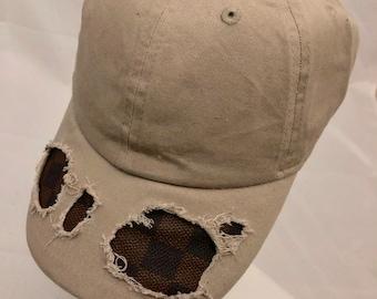 49044adab35 100% Authentic Damier Louis Vuitton Fabric Custom Tan Baseball Hat