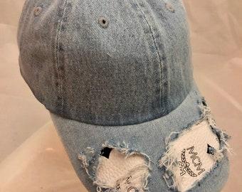 38f2d4c7665 100% Authentic Repurposed MCM Fabric Custom Light Denim Baseball Hat