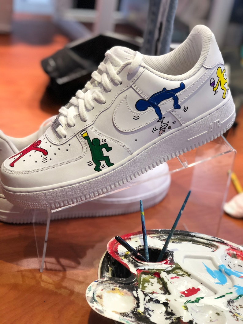 Hand painted Nike Air Force 1 Low Keith Haring Parody Inspired Art. House Party Theme