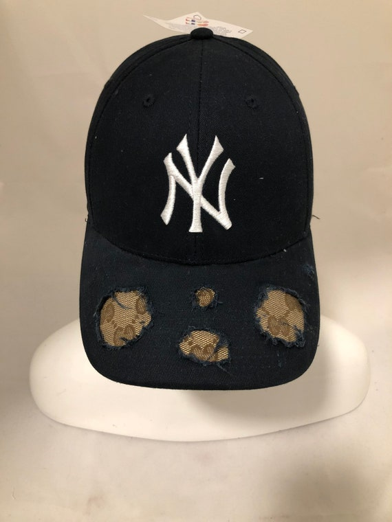 8a68f630 Custom NY Yankees X Authentic double GG Hat - Navy blue yankee designer hat  - brown tan gg baseball cap - yankee hat - distressed dad hat