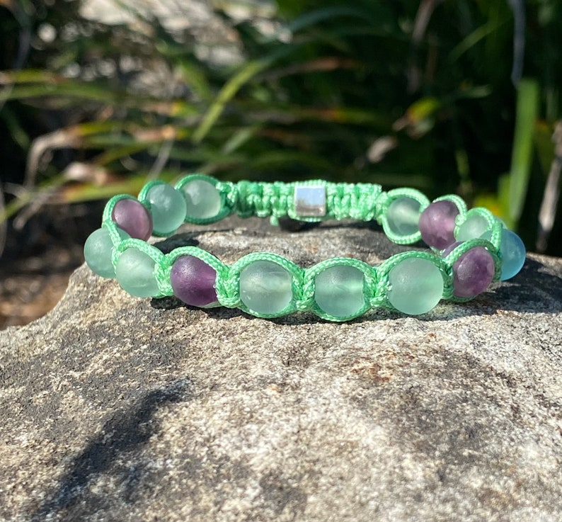 Mint Green Macrame Bracelet with Rainbow Fluorite beads and Sterling silver Global Zen Life square bead clasp