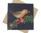 Robin Christmas Card - Bl...